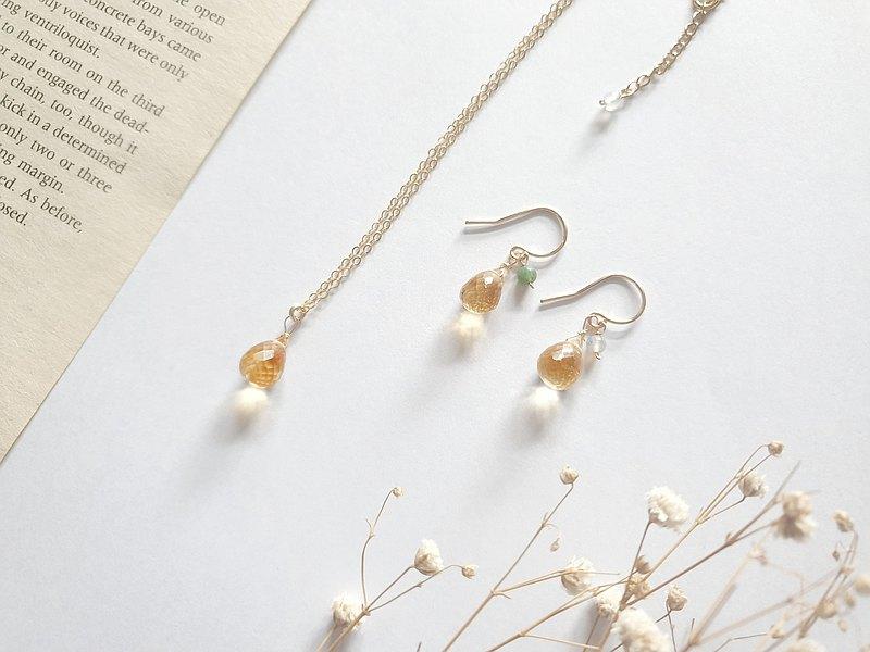 輕珠寶/ 清透黃水晶耳環(耳夾) 印度瑪瑙 水滴型 招財