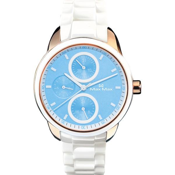 Max Max MAS7003S-11 時尚三眼白陶瓷腕錶 /藍面 37mm