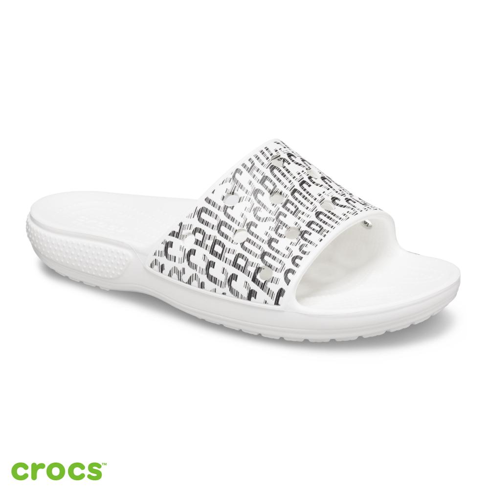 Crocs 卡駱馳 (中性鞋) 經典LOGO狂熱圖案拖鞋 206124-103