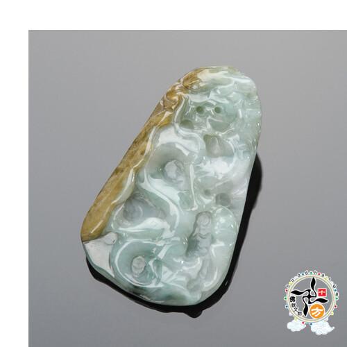 祥龍獻瑞{緬甸雙彩翡翠} 十方佛教文物