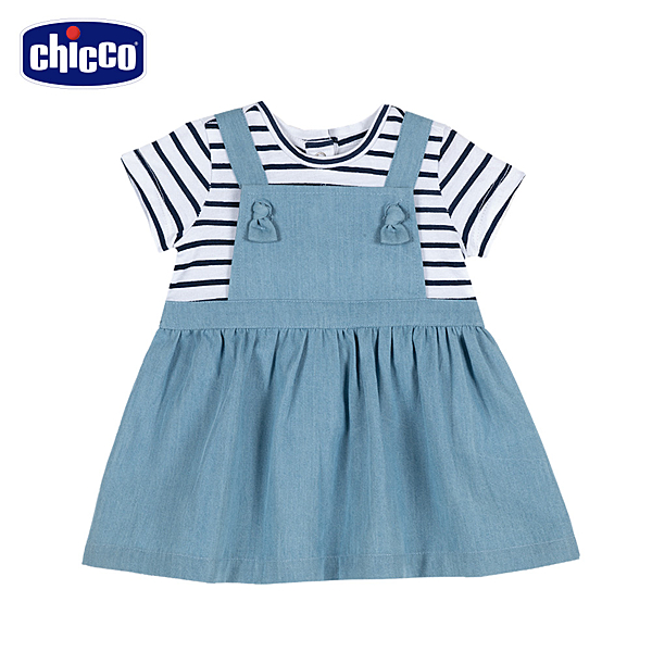 chicco-TO BE-假兩件牛仔吊帶洋裝