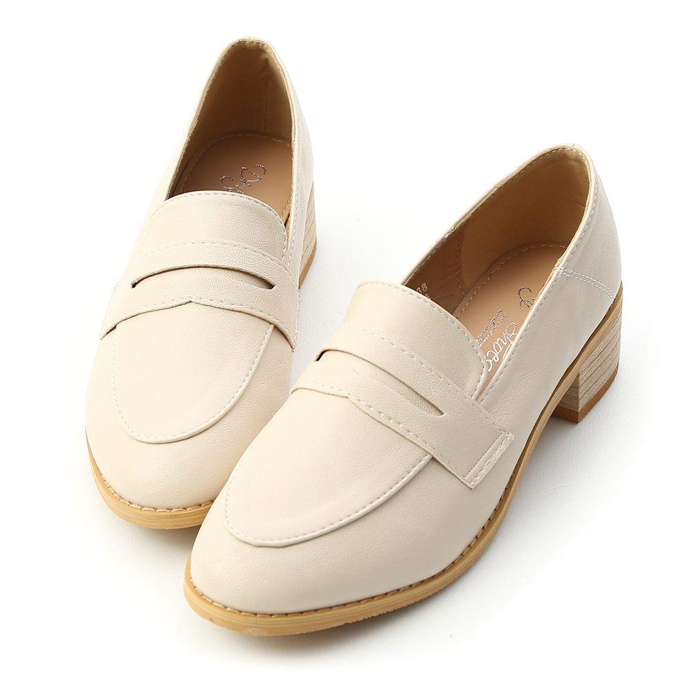 D+AF 文學氣質 經典款木紋跟樂福鞋  米白