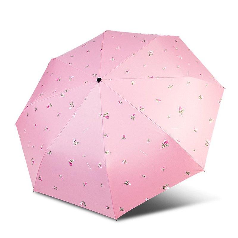 【TDN】鈴蘭花UL超輕易開收降溫三折傘黑膠晴雨傘(玫瑰粉)