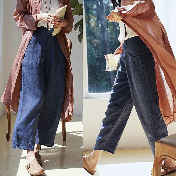日本訂製色織亞麻直筒休閒九分褲/設計家 K20329