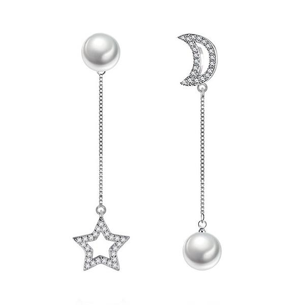 925純銀 不對稱星星月亮 貝珍珠天然白水晶 垂墜耳環耳針-銀 防抗過敏