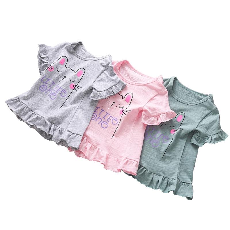 女童夏季短袖T恤純棉寶寶圓領半袖兒童夏款連衣裙衫