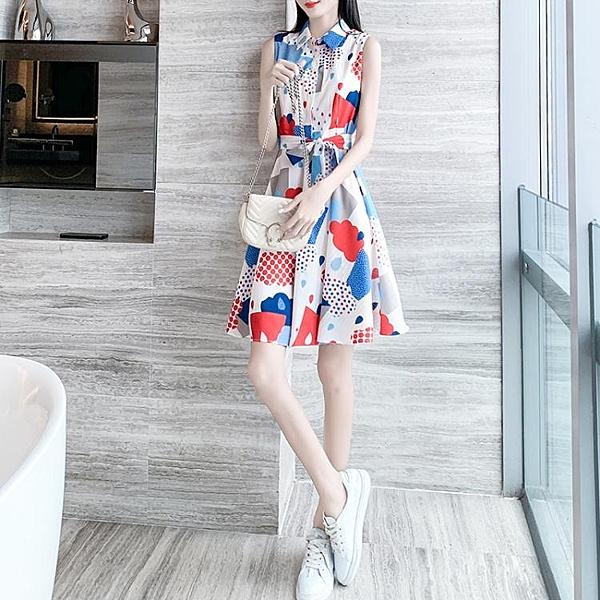 碎花洋裝女夏流行女裝新款無袖裙夏季氣質裙子收腰法式 淇朵市集