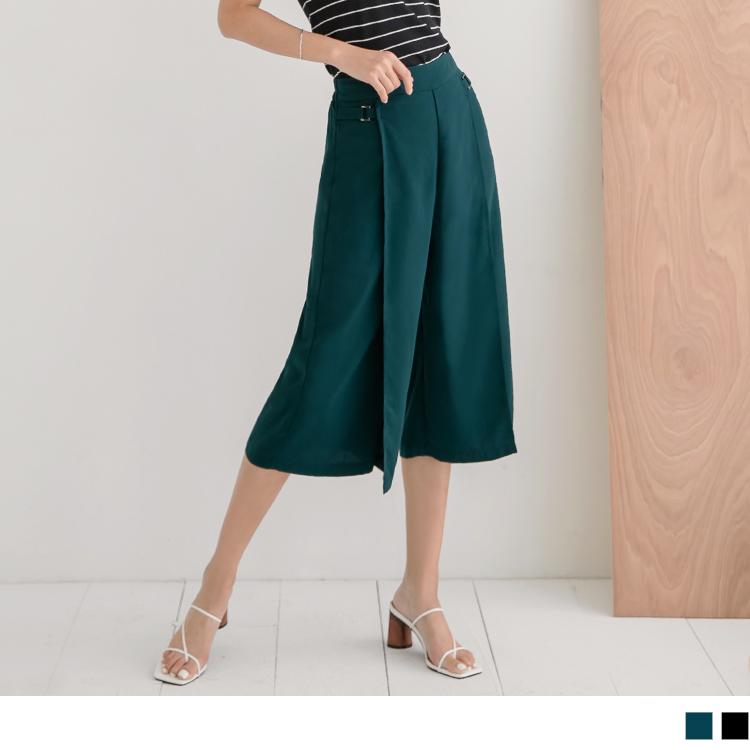 純色不易皺涼爽層次飄逸金屬釦環修身雪紡七分寬褲