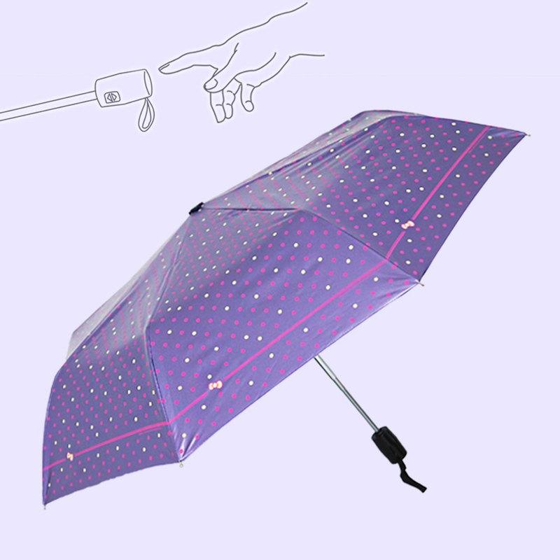 降溫14度凱蒂風圓點單指超輕收黑膠自動傘自動開收傘(晶漾紫)