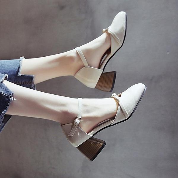 涼鞋女中跟復古2020新款百搭方頭溫柔風晚晚鞋粗跟包頭一字帶女鞋