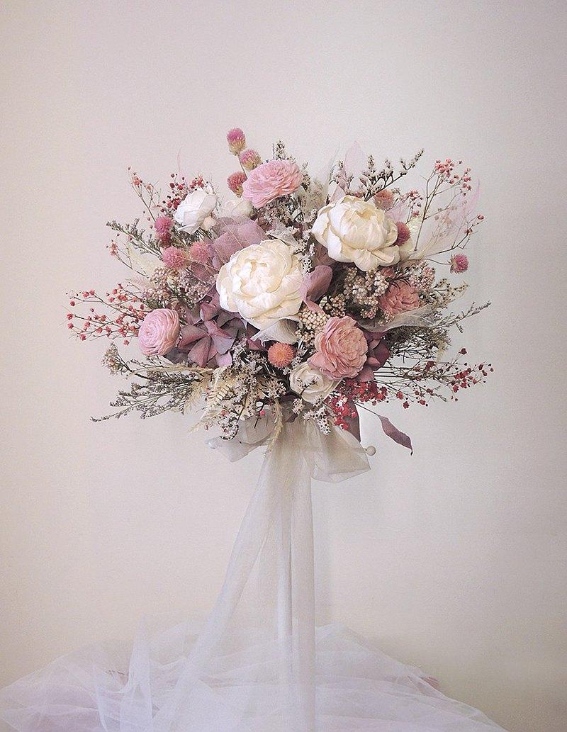 粉白色系牡丹乾燥花捧花─婚禮婚紗照外拍新娘捧花