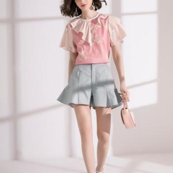 Nega C. Round neck ruffle collar daisy print top-Pink