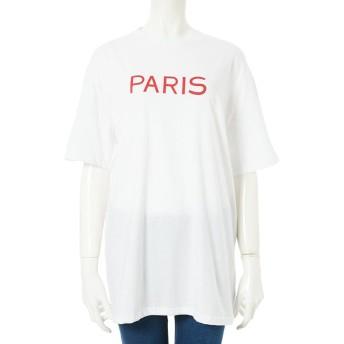【24%OFF】 フィフス PARISロゴオーバーサイズTシャツ レディース ホワイト M 【fifth】 【タイムセール開催中】