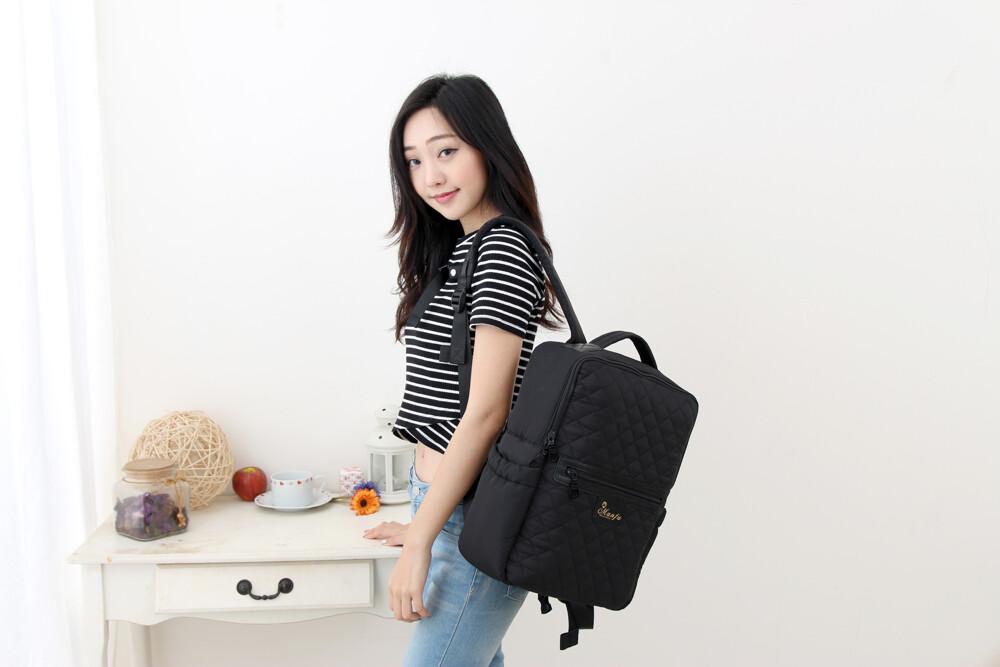 小豆腐-黑天鵝時尚小香風菱格媽媽包 a4/筆電/書本皆可放 滿福寶空氣媽媽包 育兒包