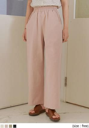 韓國空運 - 側口袋鬆緊腰寬管長褲