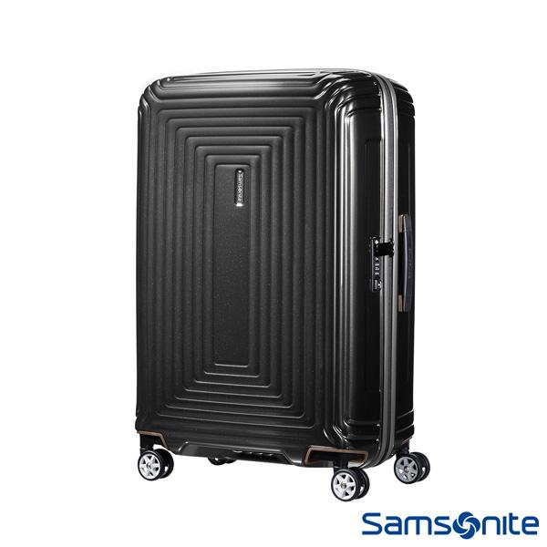 Samsonite 新秀麗 25吋Aspero 耐衝擊線條迴圈PC硬殼行李箱(碳黑)