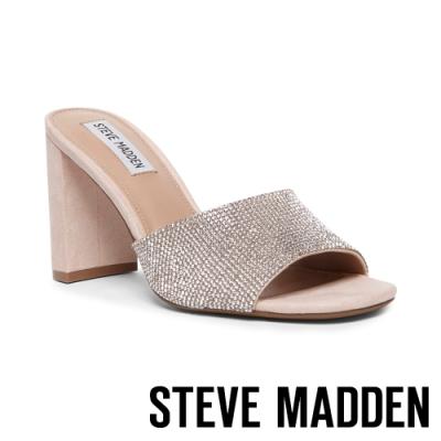 STEVE MADDEN-NILE-R 都會亮鑽 魚口露趾粗跟拖鞋-銀色
