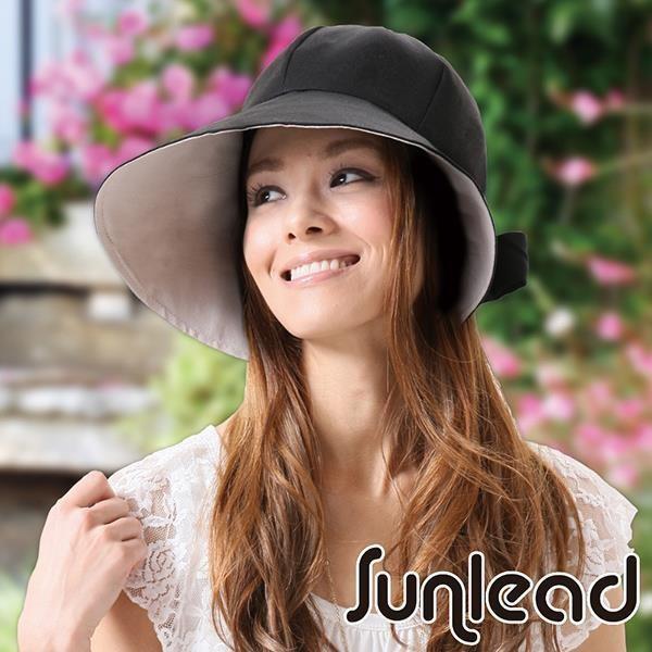 Sunlead 日系小顏寬緣馬尾款抗UV防吹落遮陽帽 (黑色)
