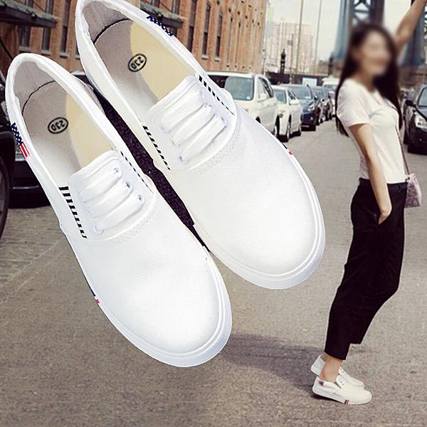 2020年春季新款小白帆布女鞋一腳蹬韓版百搭學生板鞋懶人休閒布鞋