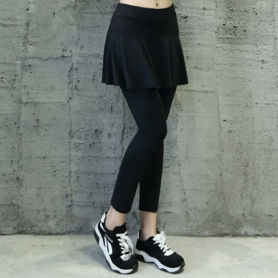 La Belleza假兩件黑色鬆緊腰荷葉波浪短裙加內搭褲運動休閒瑜珈褲