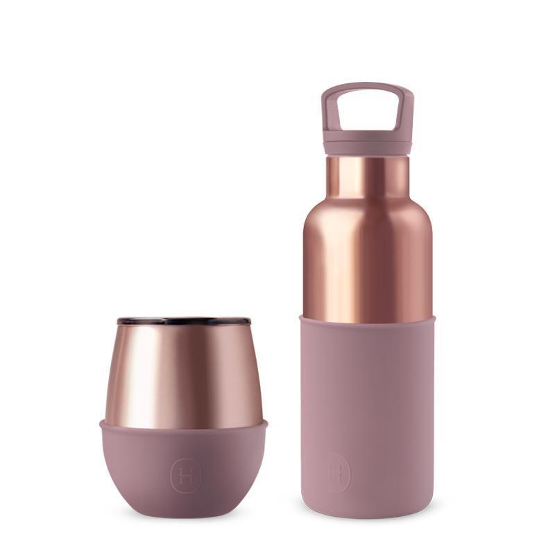 CinCin & Delicia | 蜜粉金瓶 480ml & 蜜粉金杯 240ml 組合 蜜粉金瓶-拿鐵480ml/蜜粉金杯-桑格莉亞240ml