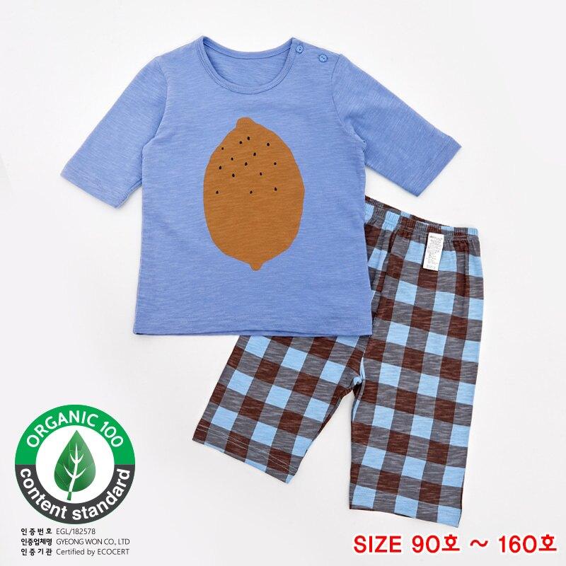 UNIFIEND 有機棉兒童居家服S20 春夏新款 七分寬鬆系列 「藍色黃檸檬」