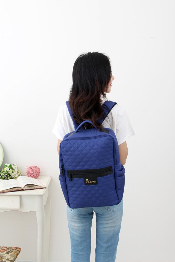 小豆腐-藍菱格時尚小香風菱格包 a4/筆電/書本皆可放 滿福寶空氣媽媽包 育兒包