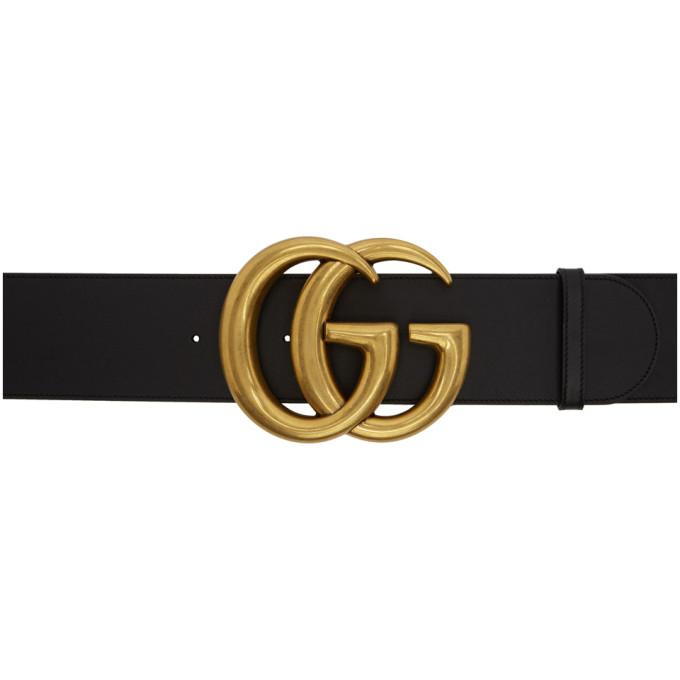 Gucci 黑色 GG 宽版皮革腰带