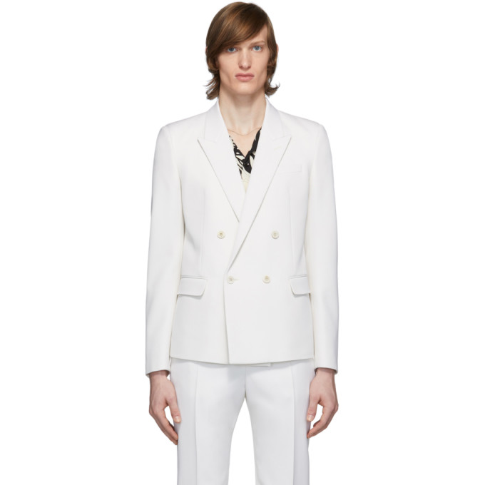 Saint Laurent 白色精裁羊毛双排扣西装外套