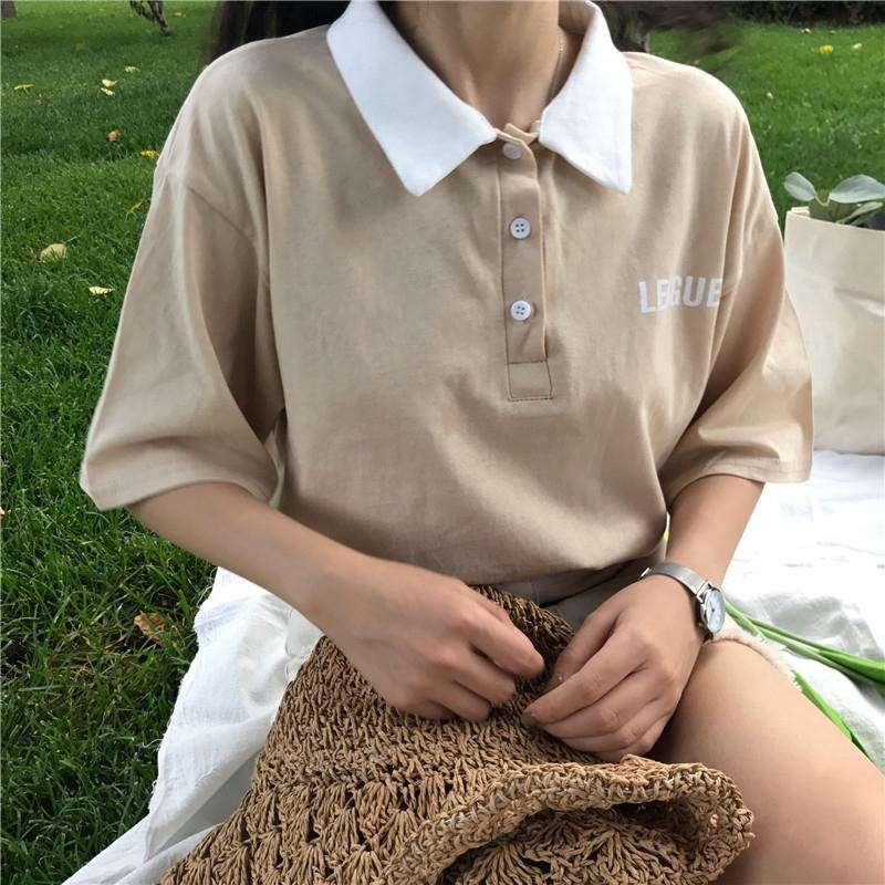 【HOT 本舖】夏季短袖T恤 學院風 polo領 字母印花 寬鬆顯瘦 復古風 正韓上衣 小清新 半袖 時尚百搭 姐妹裝