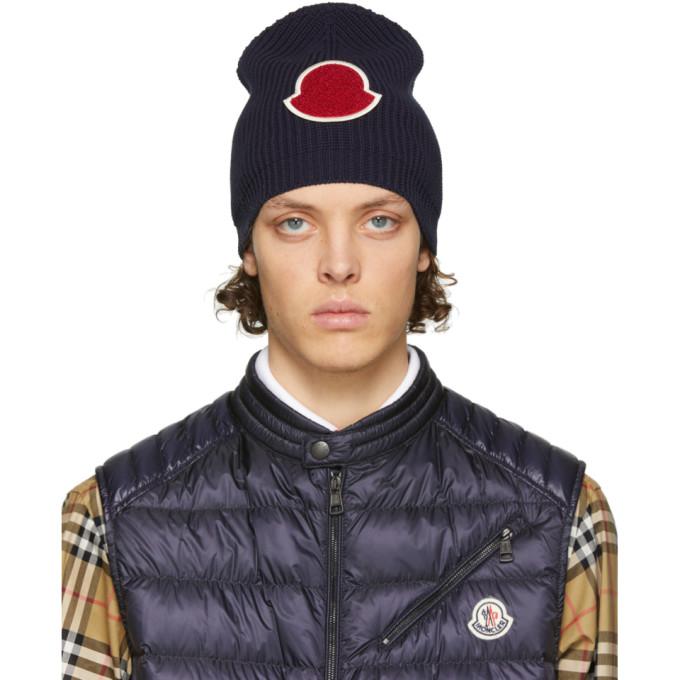 Moncler 海军蓝针织毛线帽