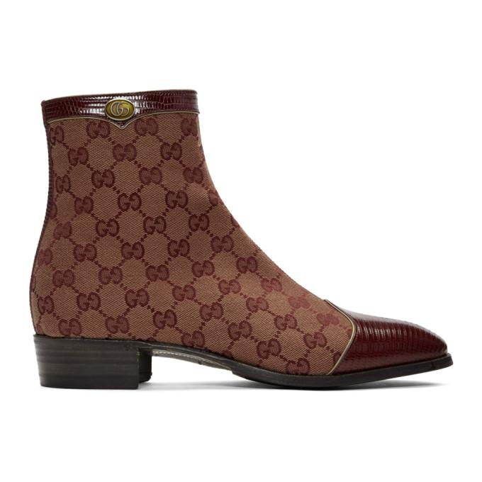 Gucci 酒红色 Original GG 帆布踝靴