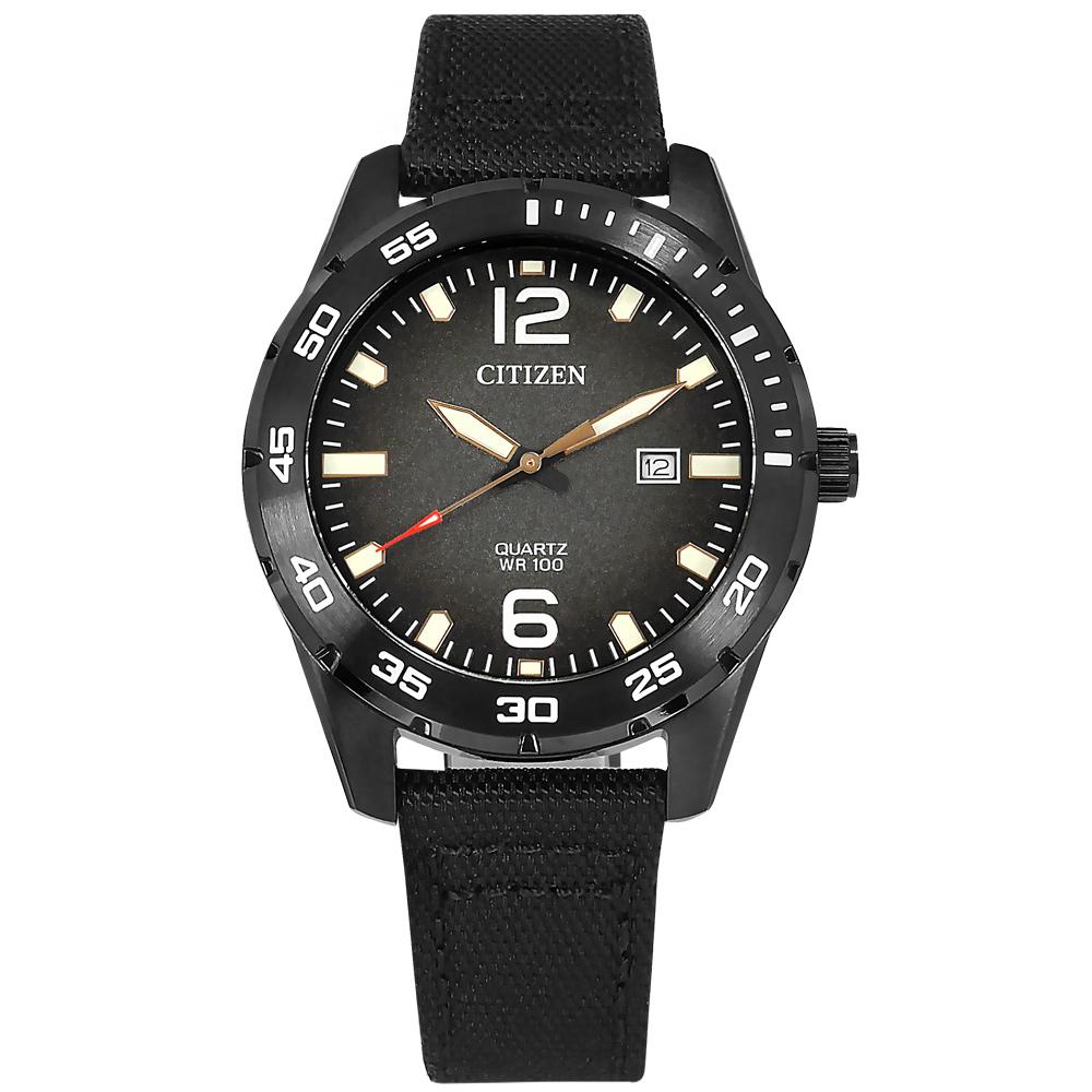 CITIZEN 星辰 / BI1045-05E / 經典風格 防水100米 日本機芯 日期顯示 帆布手錶 黑色 42mm