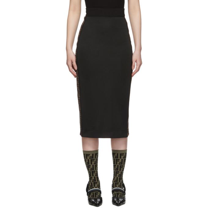 Fendi 黑色徽标带铅笔裙