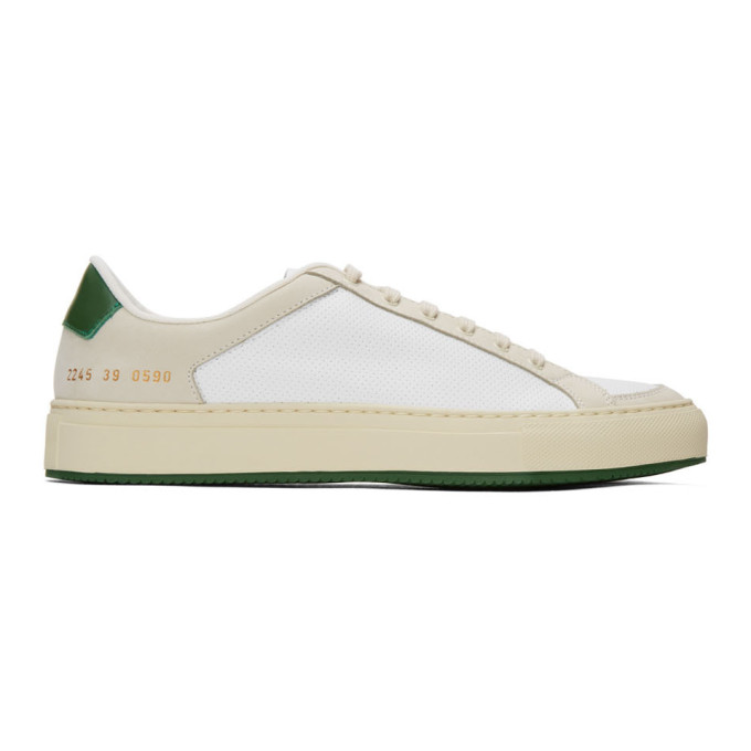 Common Projects 白色 and 绿色 Retro 70s 运动鞋