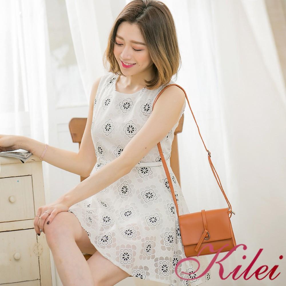 Kilei 花朵點點棉混織紗背心洋裝XA3392-03(溫柔黑)全尺碼 廠商直送 現貨