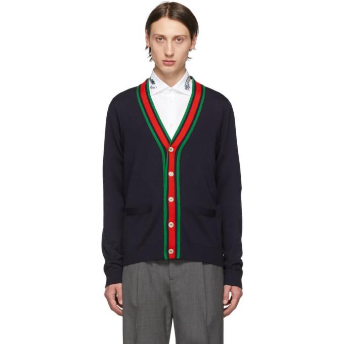 Gucci 海军蓝羊毛条纹开衫