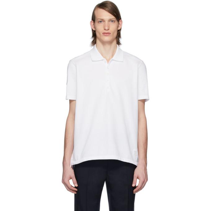 Thom Browne 白色背面中央条纹 Polo 衫