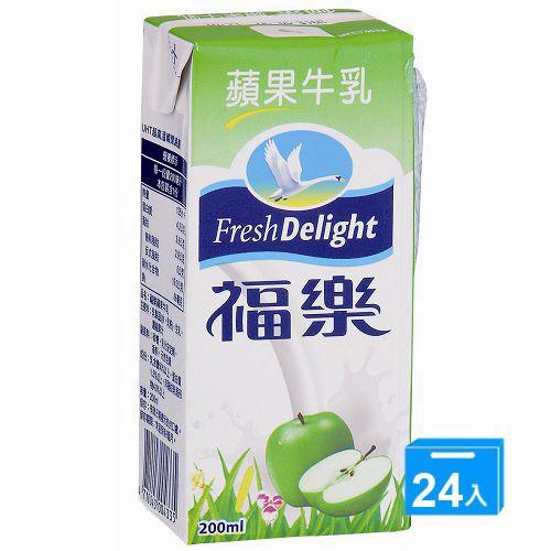 福樂調味乳-蘋果牛乳200mlx24入/箱【愛買】