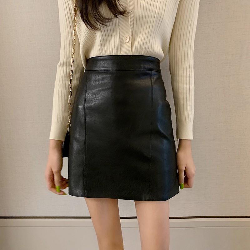 短裙 包臀裙 窄裙 半身裙 皮裙 pu皮高腰包臀a字半身裙 3色