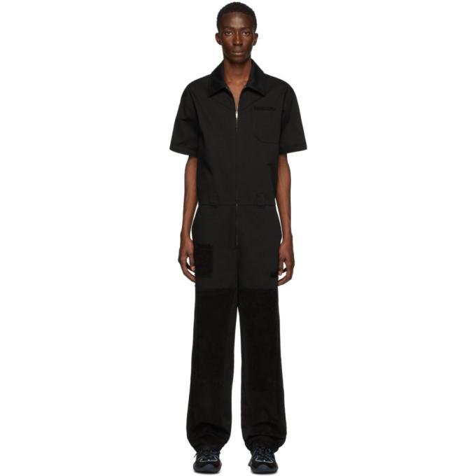 Fendi 黑色绒面革拼接连身裤