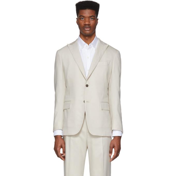 Eidos 驼色戗驳领西装外套