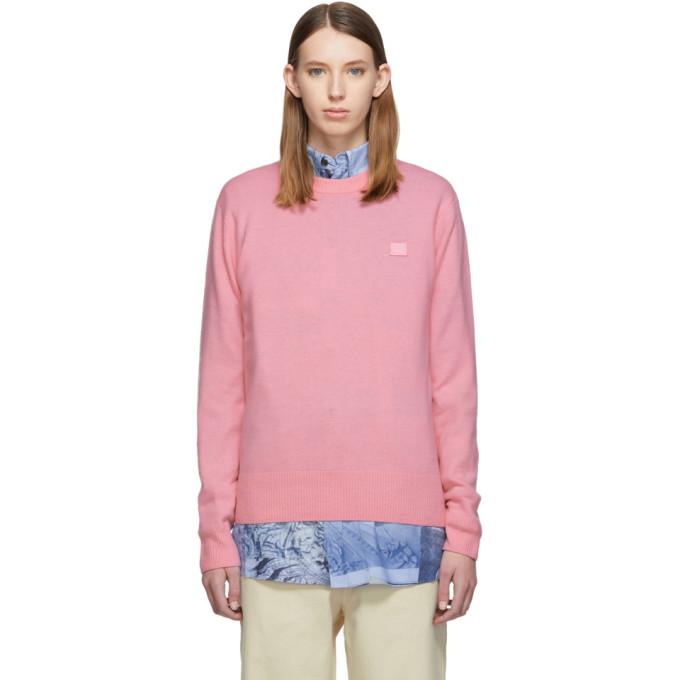 Acne Studios 粉色贴饰羊毛圆领毛衣