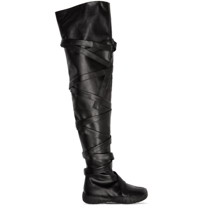 Maison Margiela SSENSE 独家发售黑色长筒低跟分趾靴