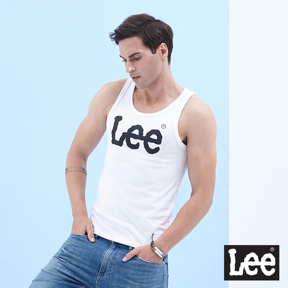 Lee 背心 大logo印刷合身 男 白 Mainline