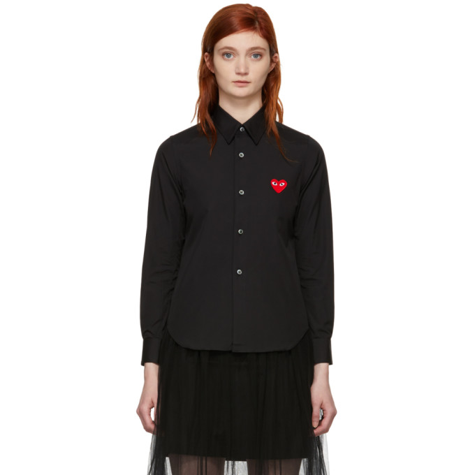 Comme des Garcons Play 黑色心形图案拼贴衬衫
