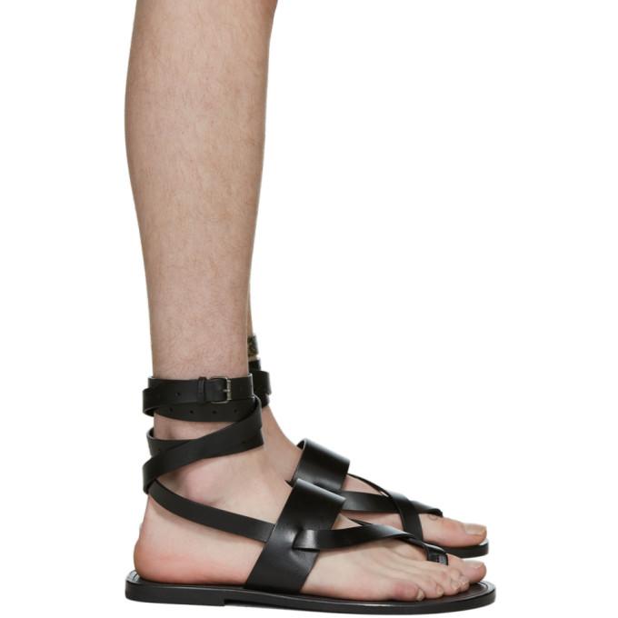 Saint Laurent 黑色 Culver 踝带凉鞋