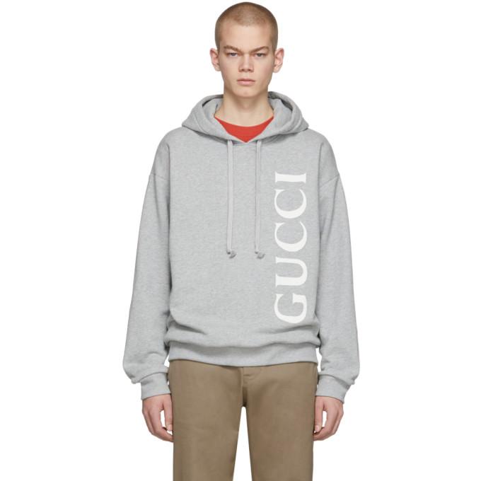 Gucci 灰色徽标连帽衫