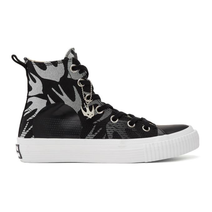 McQ Alexander McQueen 黑色 and 白色 McQ Swallow Plimsoll 高帮运动鞋
