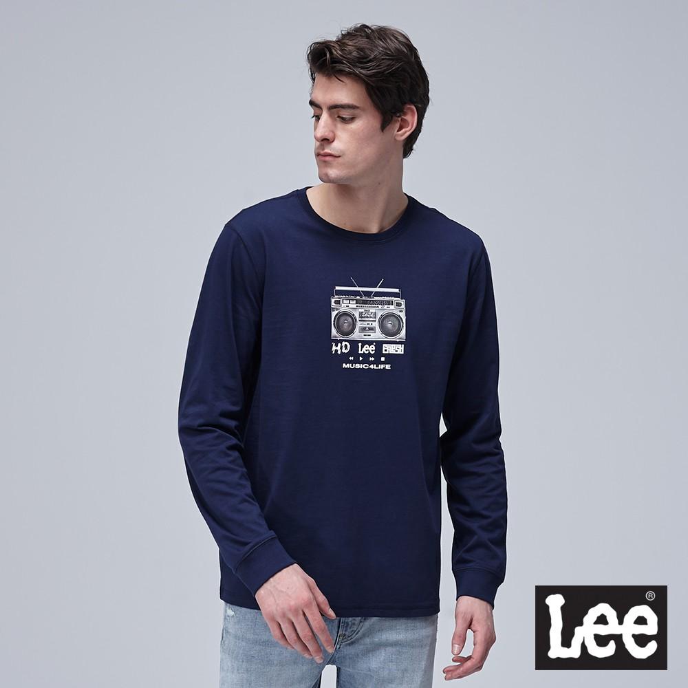 Lee 收音機印花長袖T恤 男 深藍 Mainline